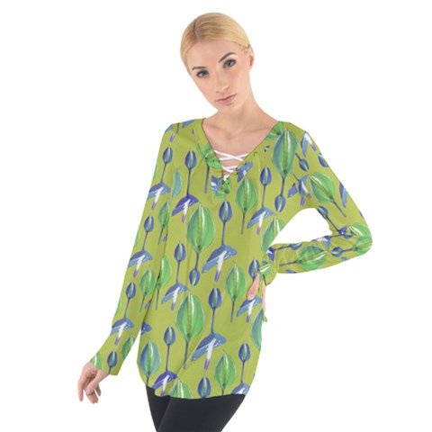 Tropical Floral Pattern Women s Tie Up Tee