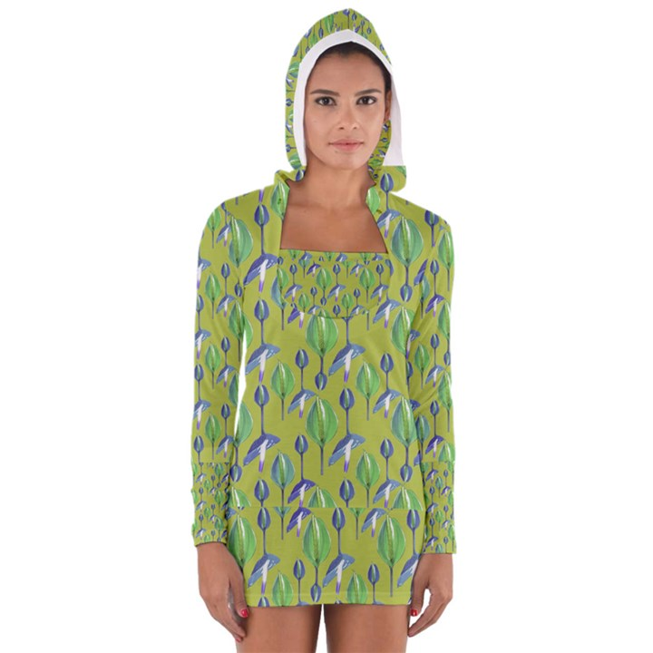 Tropical Floral Pattern Women s Long Sleeve Hooded T-shirt