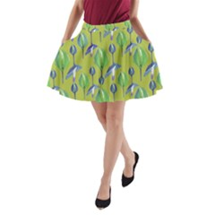 Tropical Floral Pattern A Line Pocket Skirt