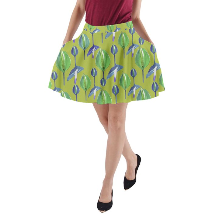 Tropical Floral Pattern A-Line Pocket Skirt