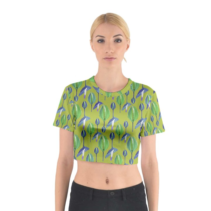 Tropical Floral Pattern Cotton Crop Top