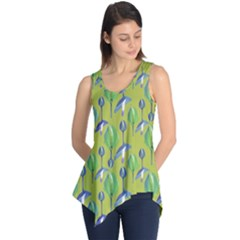 Tropical Floral Pattern Sleeveless Tunic