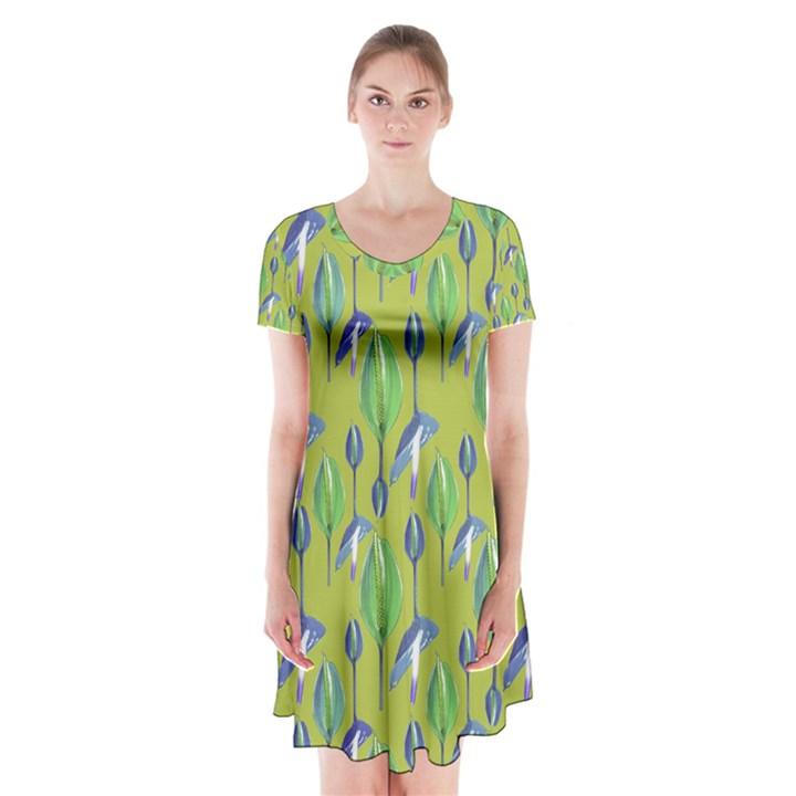 Tropical Floral Pattern Short Sleeve V-neck Flare Dress