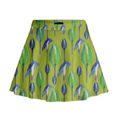 Tropical Floral Pattern Mini Flare Skirt