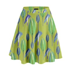 Tropical Floral Pattern High Waist Skirt