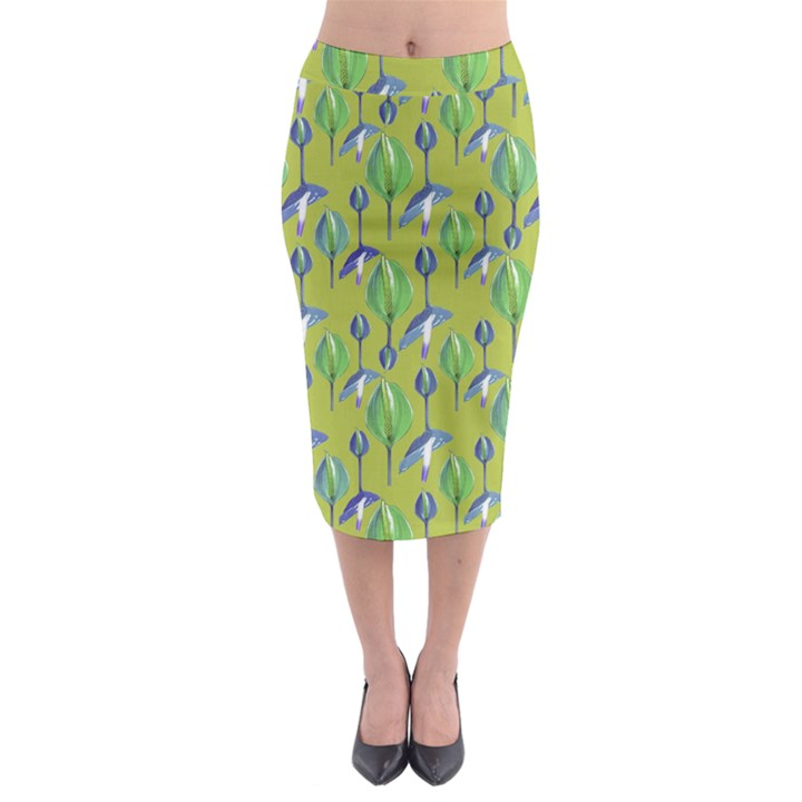 Tropical Floral Pattern Midi Pencil Skirt