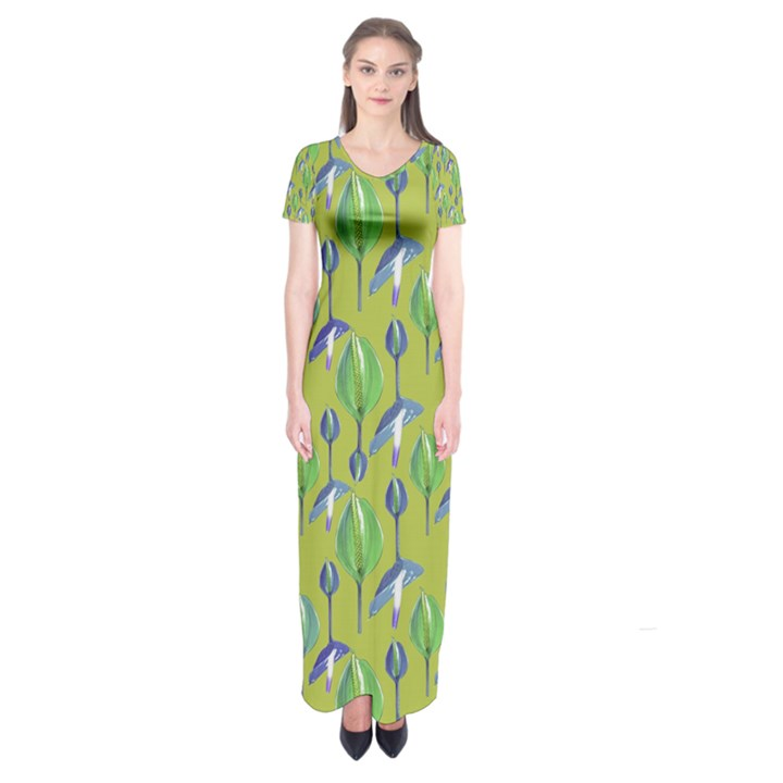 Tropical Floral Pattern Short Sleeve Maxi Dress
