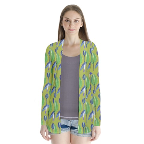 Tropical Floral Pattern Drape Collar Cardigan