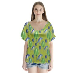 Tropical Floral Pattern Flutter Sleeve Top