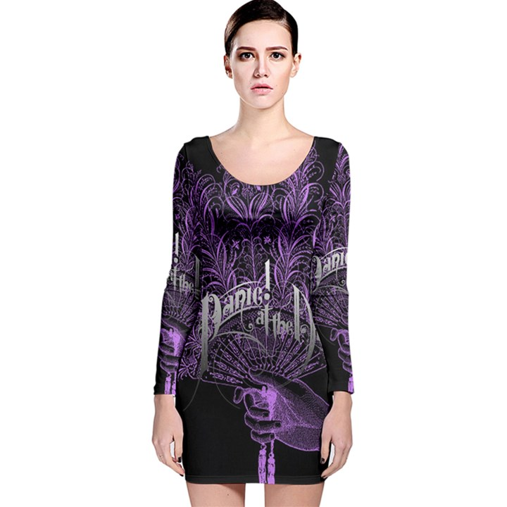 Panic At The Disco Long Sleeve Velvet Bodycon Dress
