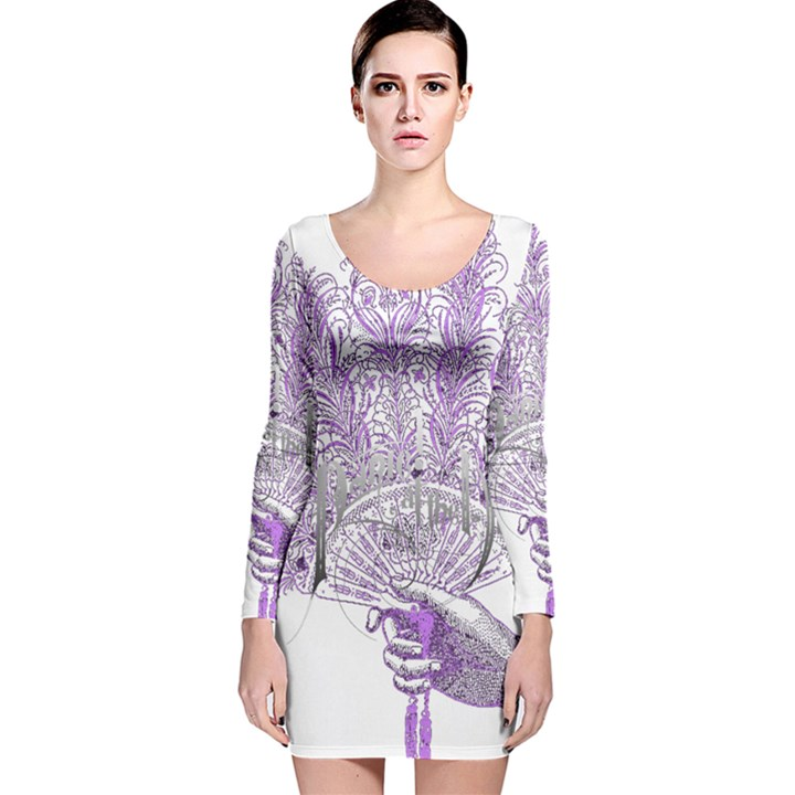 Panic At The Disco Long Sleeve Velvet Bodycon Dress