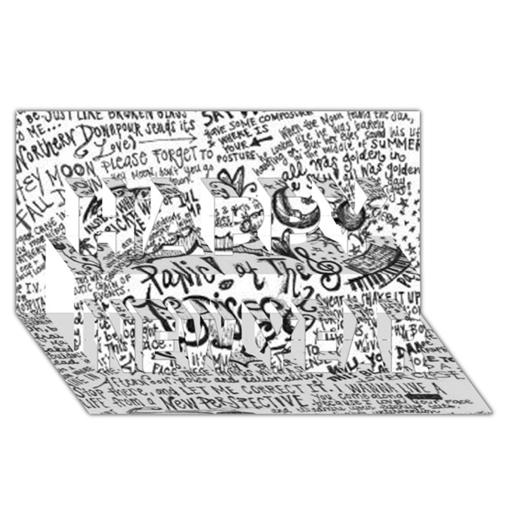 Panic! At The Disco Lyric Quotes Happy New Year 3D Greeting Card (8x4)