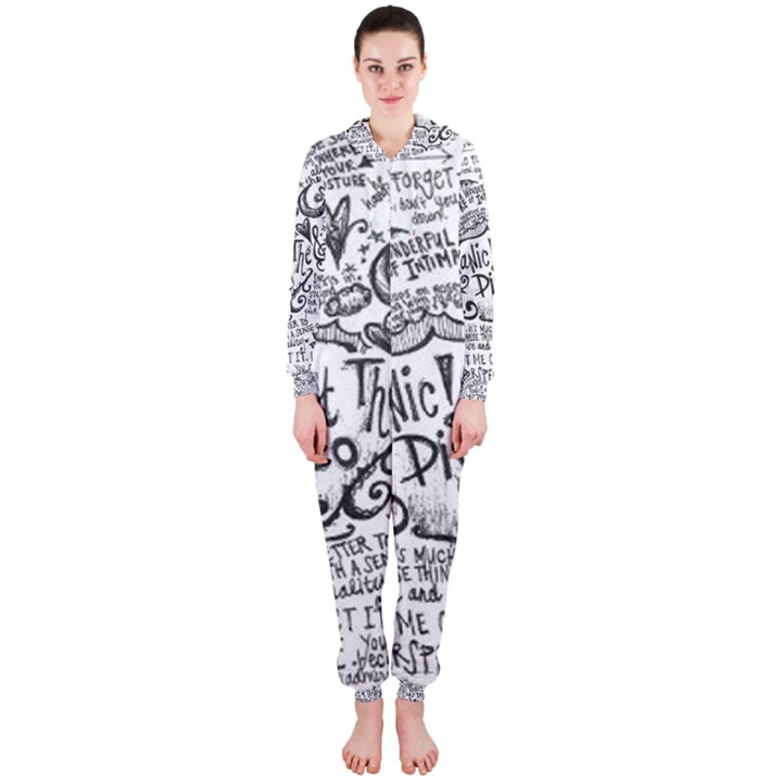 Panic! At The Disco Lyric Quotes Hooded Jumpsuit (Ladies)