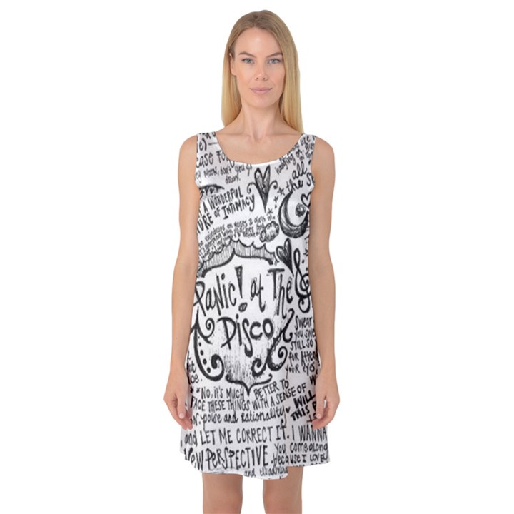 Panic! At The Disco Lyric Quotes Sleeveless Satin Nightdress