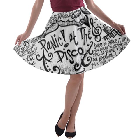 Panic! At The Disco Lyric Quotes A-line Skater Skirt
