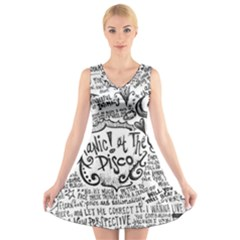 Panic! At The Disco Lyric Quotes V Neck Sleeveless Skater Dress