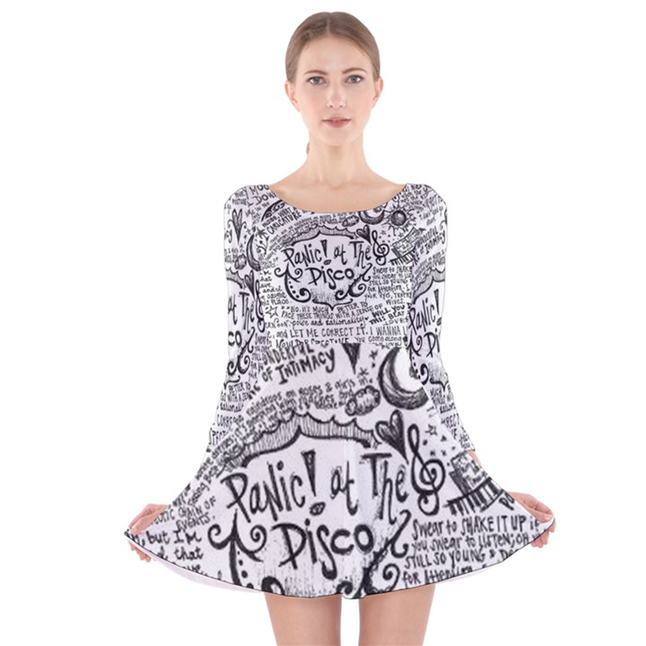 Panic! At The Disco Lyric Quotes Long Sleeve Velvet Skater Dress