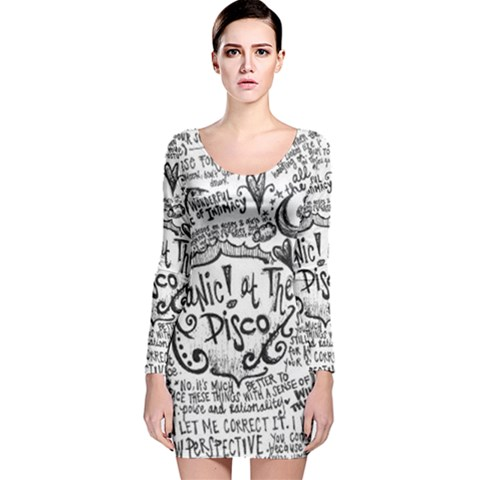 Panic! At The Disco Lyric Quotes Long Sleeve Velvet Bodycon Dress