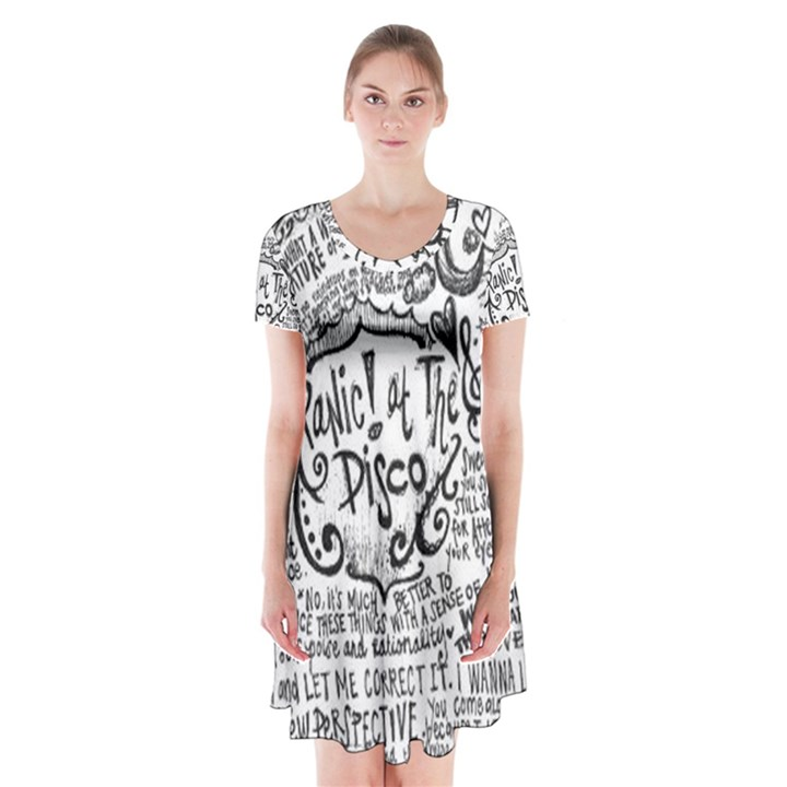 Panic! At The Disco Lyric Quotes Short Sleeve V-neck Flare Dress