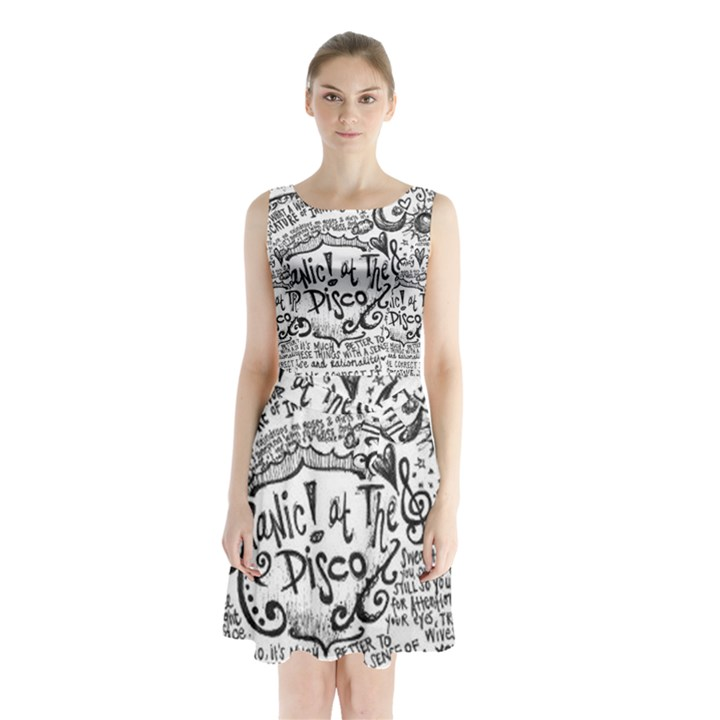 Panic! At The Disco Lyric Quotes Sleeveless Chiffon Waist Tie Dress