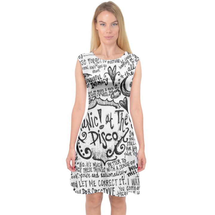 Panic! At The Disco Lyric Quotes Capsleeve Midi Dress