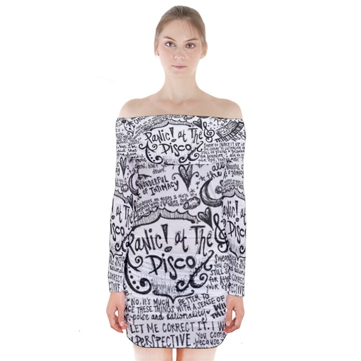 Panic! At The Disco Lyric Quotes Long Sleeve Off Shoulder Dress