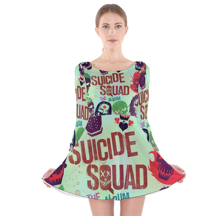 Panic! At The Disco Suicide Squad The Album Long Sleeve Velvet Skater Dress