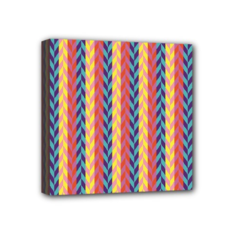 Colorful Chevron Retro Pattern Mini Canvas 4  X 4
