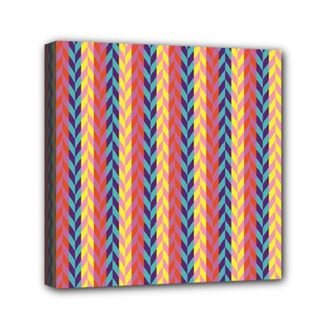 Colorful Chevron Retro Pattern Mini Canvas 6  x 6