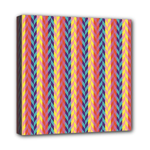 Colorful Chevron Retro Pattern Mini Canvas 8  x 8