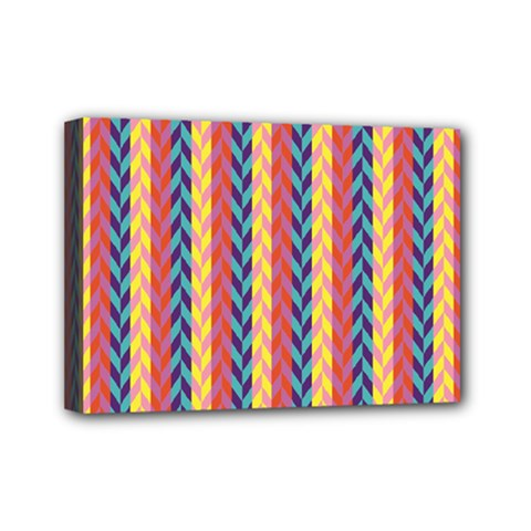 Colorful Chevron Retro Pattern Mini Canvas 7  x 5