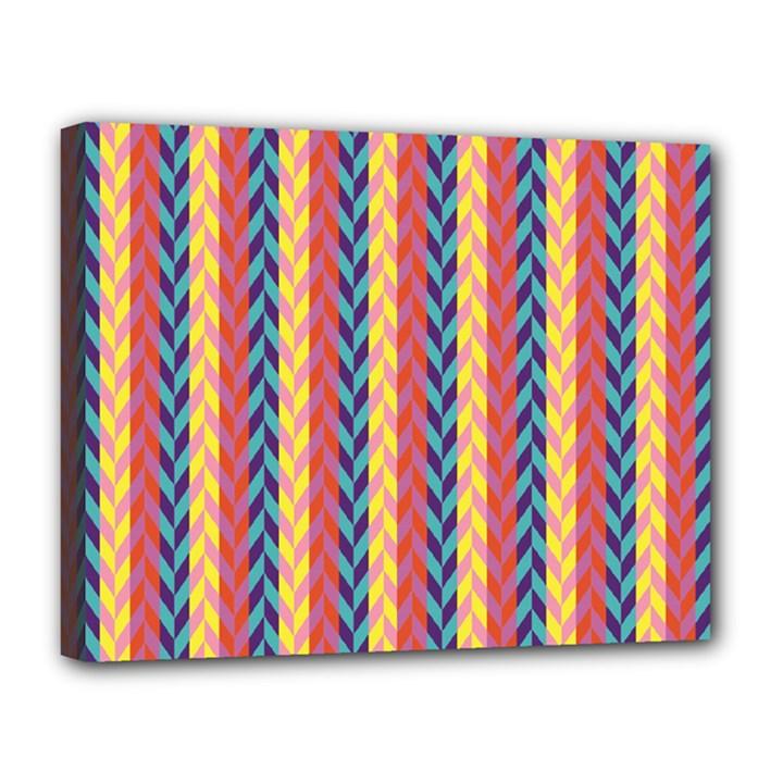 Colorful Chevron Retro Pattern Canvas 14  x 11