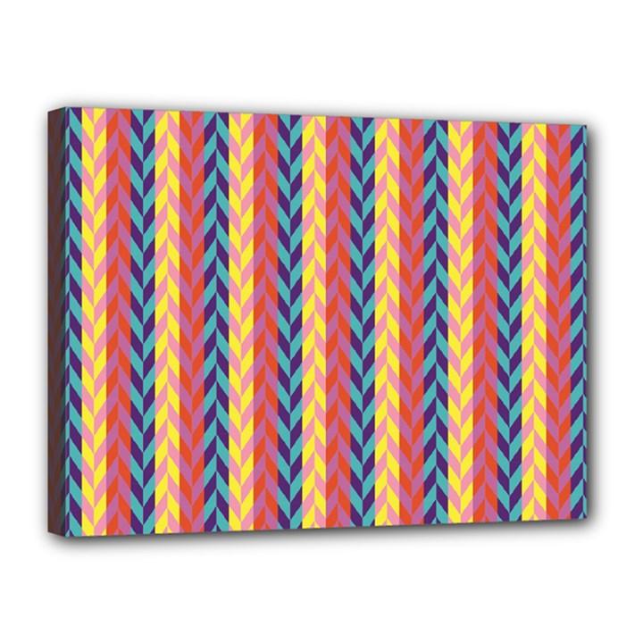 Colorful Chevron Retro Pattern Canvas 16  x 12