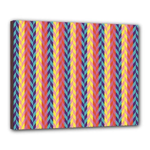 Colorful Chevron Retro Pattern Canvas 20  x 16