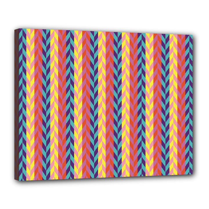 Colorful Chevron Retro Pattern Canvas 20  x 16