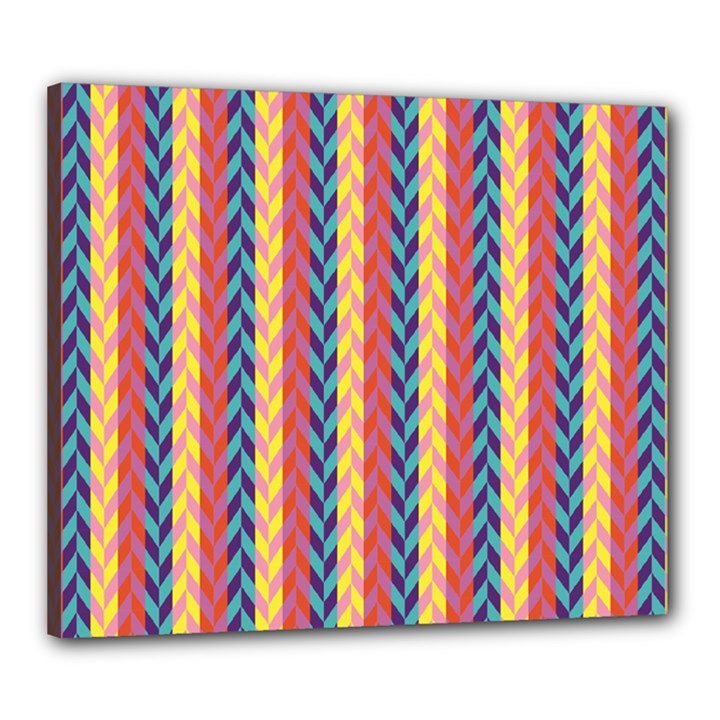 Colorful Chevron Retro Pattern Canvas 24  x 20