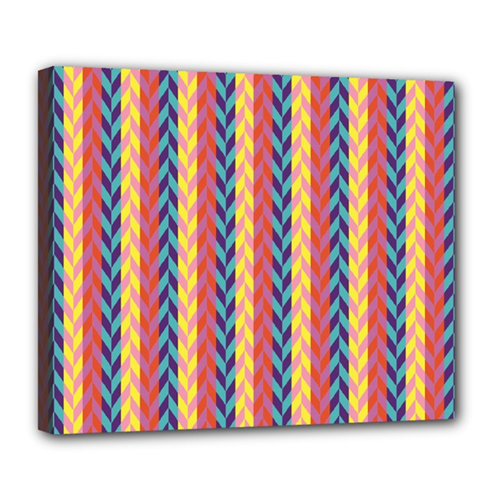 Colorful Chevron Retro Pattern Deluxe Canvas 24  x 20