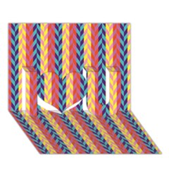 Colorful Chevron Retro Pattern I Love You 3d Greeting Card (7x5)