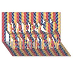 Colorful Chevron Retro Pattern Happy Birthday 3d Greeting Card (8x4)