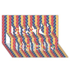 Colorful Chevron Retro Pattern Best Friends 3D Greeting Card (8x4)