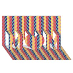 Colorful Chevron Retro Pattern MOM 3D Greeting Card (8x4)