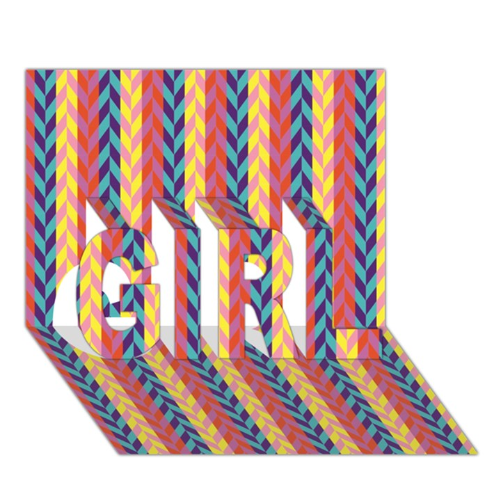 Colorful Chevron Retro Pattern GIRL 3D Greeting Card (7x5)