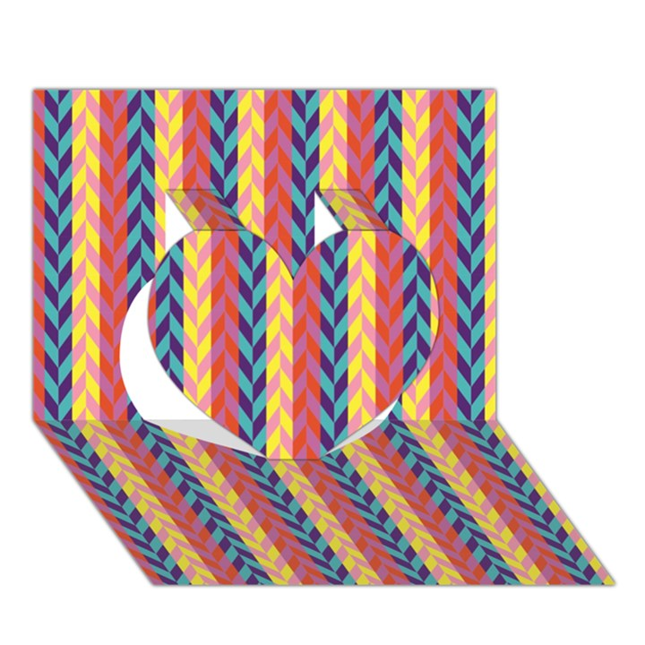 Colorful Chevron Retro Pattern Heart 3D Greeting Card (7x5)