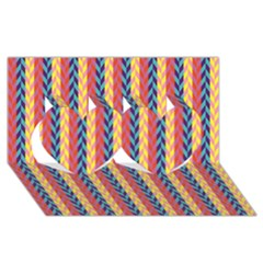 Colorful Chevron Retro Pattern Twin Hearts 3D Greeting Card (8x4)