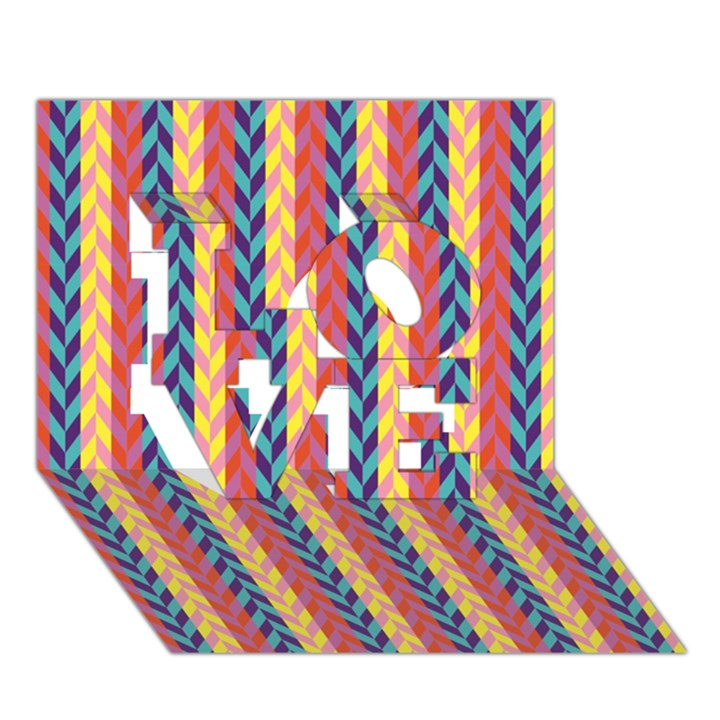 Colorful Chevron Retro Pattern LOVE 3D Greeting Card (7x5)