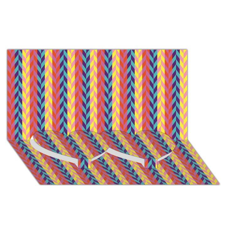 Colorful Chevron Retro Pattern Twin Heart Bottom 3D Greeting Card (8x4)