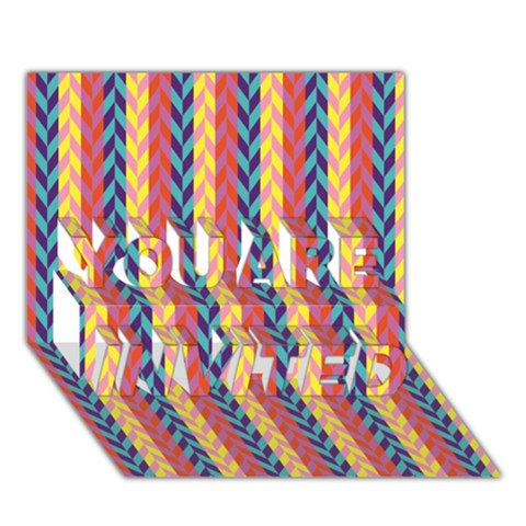 Colorful Chevron Retro Pattern YOU ARE INVITED 3D Greeting Card (7x5)