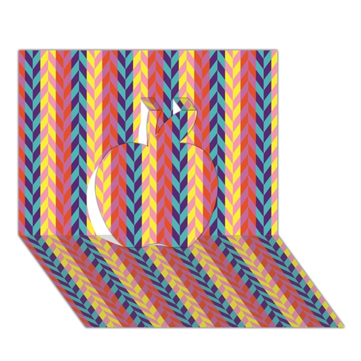 Colorful Chevron Retro Pattern Apple 3D Greeting Card (7x5)