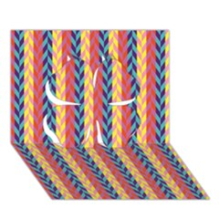Colorful Chevron Retro Pattern Clover 3D Greeting Card (7x5)