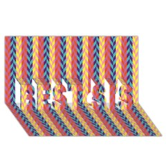 Colorful Chevron Retro Pattern Best Sis 3d Greeting Card (8x4)